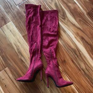 Liliana Shoes - Liliana Gisele Maroon Thigh High Boot Sz 6.5